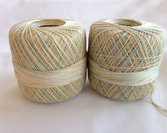 Crochet Thread – Blue / Green / Yellow Variegated Gem – Destash - Set of 2