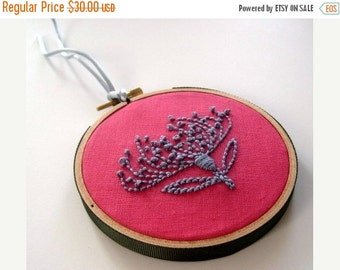 On Sale Pincushion Protea - hand embroidered flower, hoop art, home decor, wall decoration, fiber art, pink, silver gray hand embroidery by