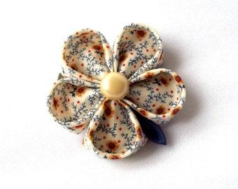 Tsumami Kanzashi Flower Hair Clip Fabric Origami Barrette