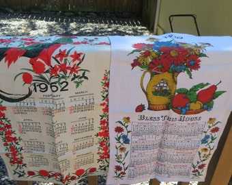 Two Vintage Tea Towels Dish Towels Linen 1967 and 1962 Luther Travis Set of Two