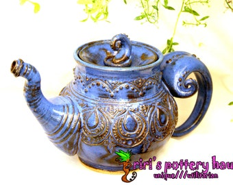 Unique stoneware teapot - custom functional wheel thrown teapot featuring exquisite original designs!  You choose capacity and glaze!