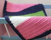 Crochet Doll Blanket Pink/Navy/White/Lime 18 x 12