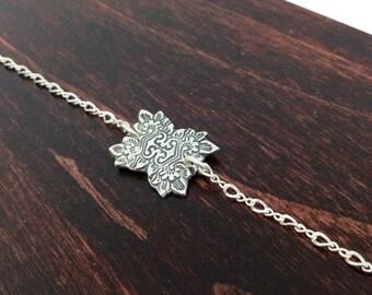 Hand Crafted Artisian Precious Metal Clay Charm Bracelet || Silver PMC || Hand Stamped Fine Silver || Boho || Boho Bracelet || Chain