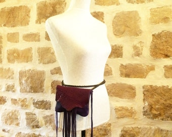 purple plum leather handbag hip belt bag fanny pack with fringe by Tuscada. Ready to ship.