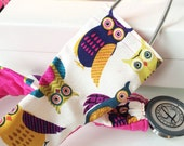 Padded Stethoscope Cover - Nurse, Doctor, Nursing Student, Medical Assistant, Veterinarian, RN, CMA -  Gift for Nurse - Owls with Fuchsia
