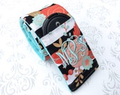 Monogrammed Camera Strap Cover Padded with Lens Cap Pocket and Minky, Photographer Gift, Canon, Nikon, DSLR - Floral Stripes with Aqua