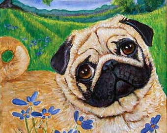 Pug art  ORIGINAL acrylic painting on canvas dog daisies ready to hand pug Dog art pet portrait