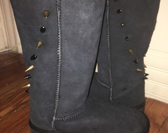 Genuine Australian Sheepskin & Wool Lined Black Suede Custom Spiked Boots - Size 6 - last pair