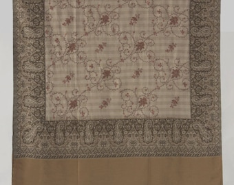 Kashmir Wool Shawl/Stole. Regency Style. Biege Wool, Paisley Hand Embroidered.