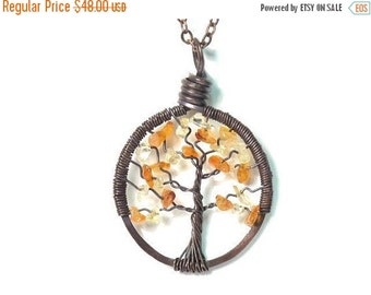 25% OFF Vacation Sale The Petite Tree of Life Antiqued Copper Necklace in Citrine and Carnelian.