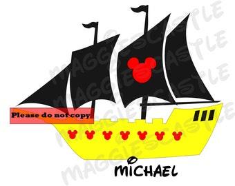 VINYL DecaL - DIY Iron On - Mickey Pirate Ship