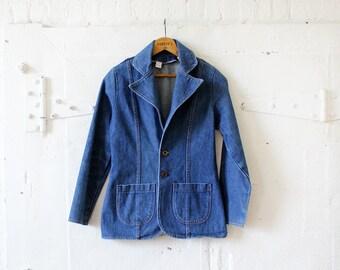 70s Denim Blazer S • Wrangler Denim Jacket • Jean Jacket • Boho Jacket • Wrangler Jacket • Spring Jacket | O203