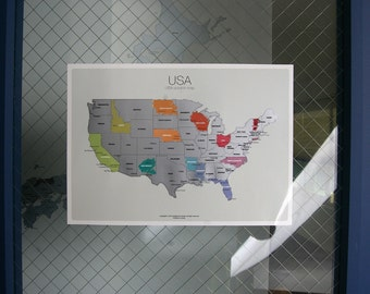 Scratch-off Us Mainland Map the United States of America A4(8.27 x 11.6) Size Poster Silver Layer Ver2