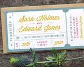 Concert or General Admission Ticket Wedding Invitation / 'Just the Ticket' Fun Modern Wedding Invite / Yellow Blue Pink / ONE SAMPLE