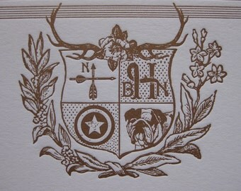 Modern Family Crest Custom Letterpress Stationery