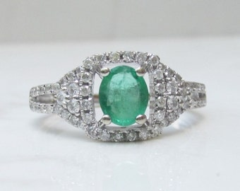 Estate Oval Cut Emerald and Diamond Halo Ring in 14k Solid White Gold, Size 7