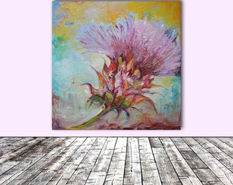 Thistle - FREE SHIPPING - Modern Ready to Hang Painting - Original Oil Painting, Wall Decoration