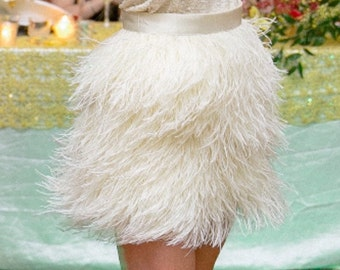 Extra Full High Waisted Feather Skirt - Additional Colors Available