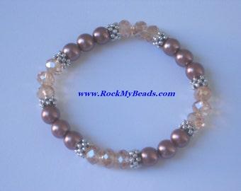 Brown Pearls and Gold Crystal Bracelet,bracelet,jewelry,women bracelet,beaded bracelet,bridesmaid bracelet,pearl bracelet,crystal bracelet