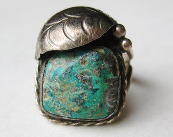 Vintage Old Pawn Silver Fred Harvey Era Turquoise Navajo American Indian Ring size 6