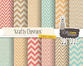 SALE: Shabby Chevron Digital Paper Pack, Turquoise Blue, Coral Red, Orange & Gold on Kraft Background, Commercial Use, Instant Download