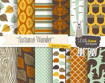 50% Off - Autumn Digital Paper, Fall Woodland Digital Paper, Fall Scrapbook Paper, Autumn Digital Backgrounds, Commercial Use