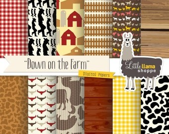 50% Off - Farm Digital Paper, Country Scrapbook Paper, Barnyard Digital Paper Pack, Instant Download, 8.5x11 and 12x12, Commercial Use