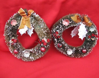 green bottle brush wreath pair 6 inches mercury balls millinery flowers foil leaves mid century Christmas
