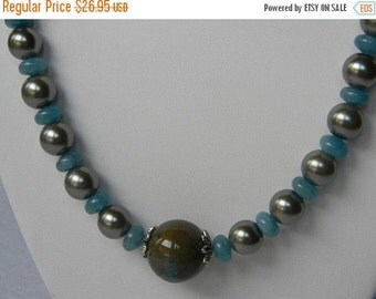 On Sale Green Pearls and Blue Stones Necklace