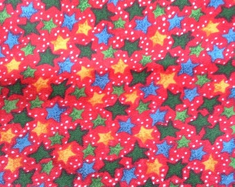 Winter Fun Colorful Stars Cotton Fabric Red Blue Yellow Green 1 1/4 Yards X0426