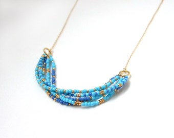 Layered elegant dainty multicolored beaded necklace aqua turquoise blue gold filled