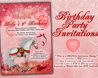 Horse Birthday Party Invitation, Horse Card, Party Invitations, Birthday Party Invitation