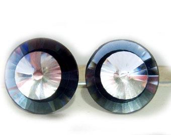 80s Black Diamond Crystal Earrings Retro Clip On Pierced or Magnetic Earrings