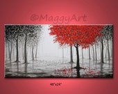 large original painting,wall art,red tree,rain,misty forest,black white and red,48x24inch stretched canvas,office home decor,ready to hang