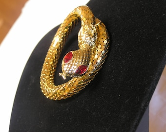 Vintage gold mesh ruby eyes coiled snake bracelet
