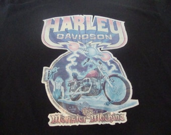 Vintage 70's Harley Davidson Motorcycle IRON ON The Monster Machine biker trucker black T Shirt S