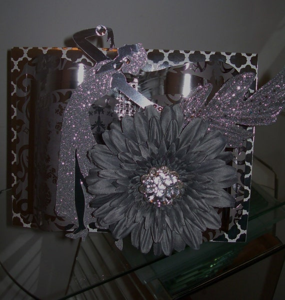 Lady in Silver 3D Embellished Greeting Card Crafted by Hand