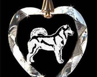 Alaskan Malamute Dog  Custom Crystal Necklace Pendant, Suncatcher with any Animal or Name YOU Want, Gift, Dog Lover, Handler, Trainer