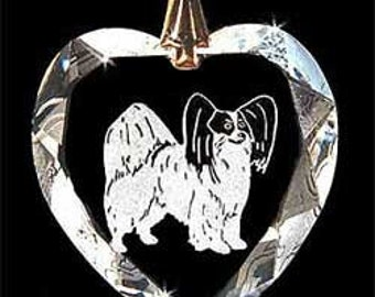 Papillon Dog Jewelry Hand Etched  Austrian Crystal  Pendant - FREE Shipping US