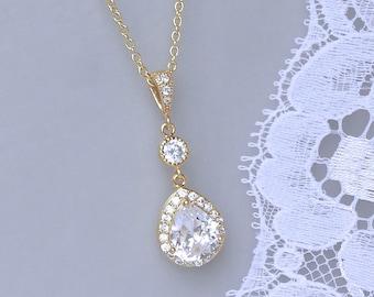 GOLD Crystal Bridal Necklace, GOLD Teardrop Necklace,  Wedding Necklace, Bridal jewelry, Wedding jewelry, TAMARA 2 G