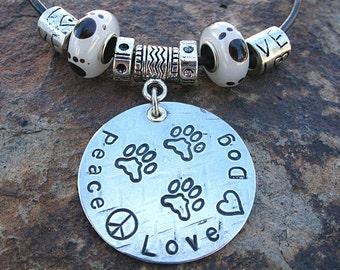 Peace, Love, Dog Tripawd Pet Parent Pendant