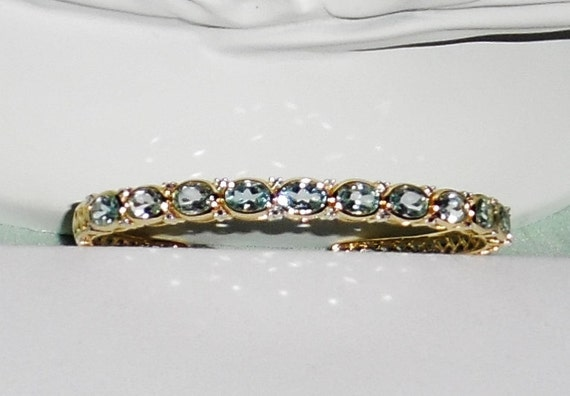GENUINE, Sky Blue Topaz, 22 - 1mm Diamonds and gemstones, 14kt yellow gold Bangle Bracelet 7 3/4""