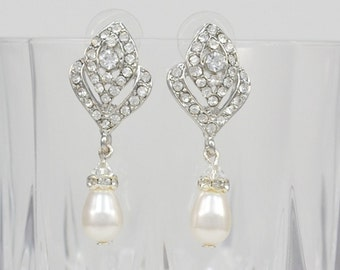 Bridal Crystal Earrings, Swarovski Teardrop Pearls, Swarovski Crystals, Stud Earrings, Vintage Style, Tammy - Ships in 1-3 Business Days