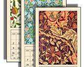 "HALF PRICE  2017 Digital Calendar Download and Print 5"" X 10"" Pages William Morris Art Nouveau Printable 12 Different Images 2017 CAL 18"
