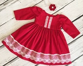 Girls Christmas Holiday Dress Red White Lace Ribbon Toddler Infant Girls