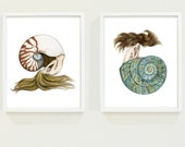 SIGNED Set of Two Nautilus & Jade Turbo Shell Mermaid Art Prints 8x10 Coastal Wall Art