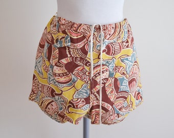 1950s Catalina Novelty gourd print cabana shorts / 50s printed tropical swimming trunks - XXS man S ladies
