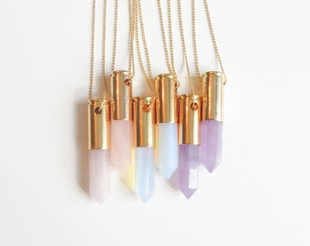 Gold Bullet Necklace | Long Bullet Necklace | Bullet & Gemstone Necklace | Opal Stone Necklace | Gemstone Necklace | Layering Necklace