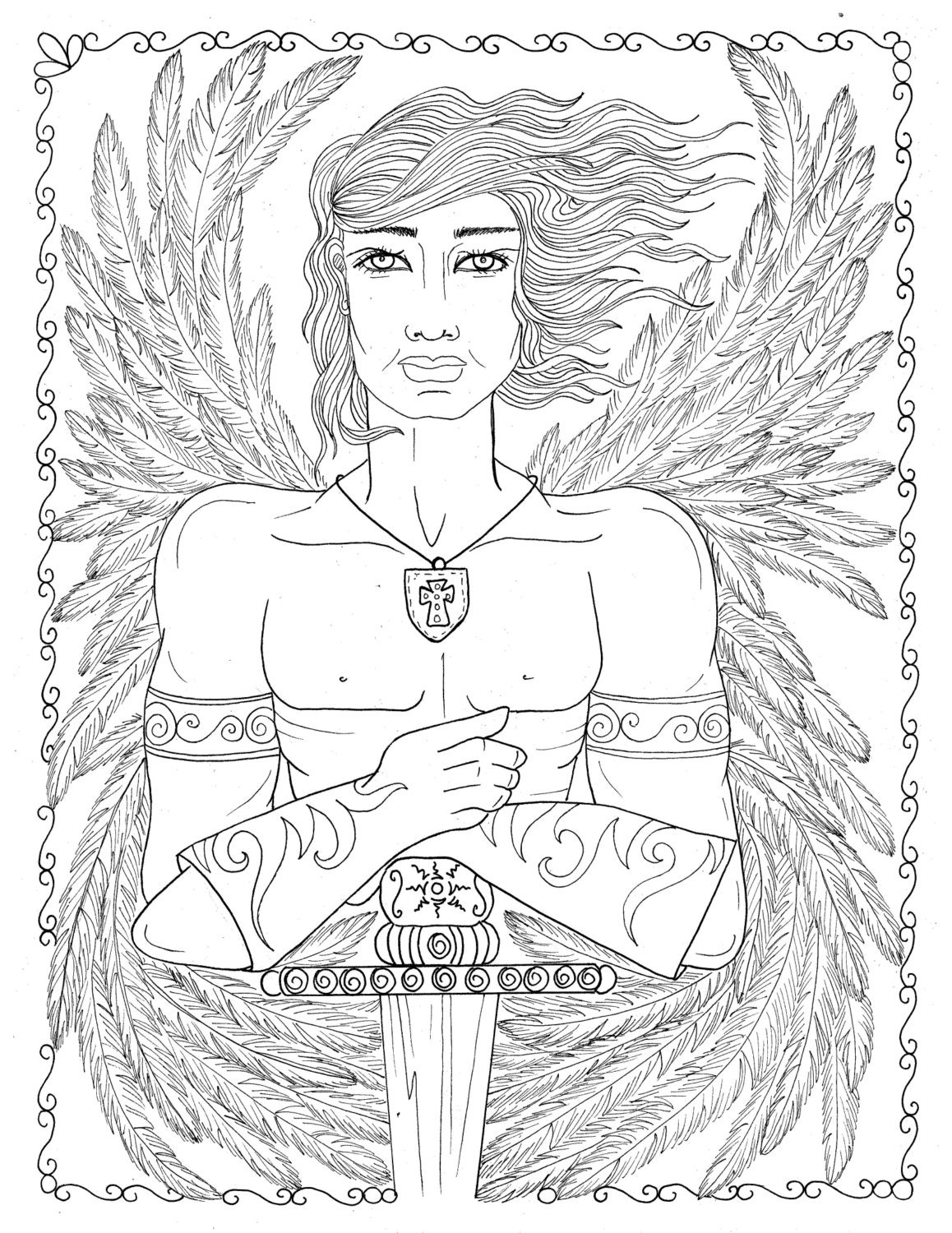 warrior angel coloring pages - photo#22
