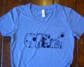 5 Cats Womens Blue or Cream Tri Blend T Shirt